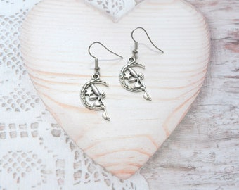 Pair of earrings jewelry dangle fairy on Crescent moons