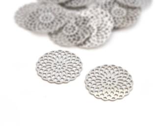 2 prints round pinwheel filigree silver stainless steel 18mm