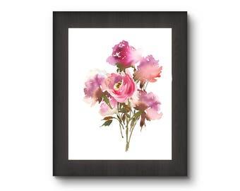 Flower bouquet digital art, flower digital print, flower printable, flower digital art, flower decor, flower download, watercolor flower art