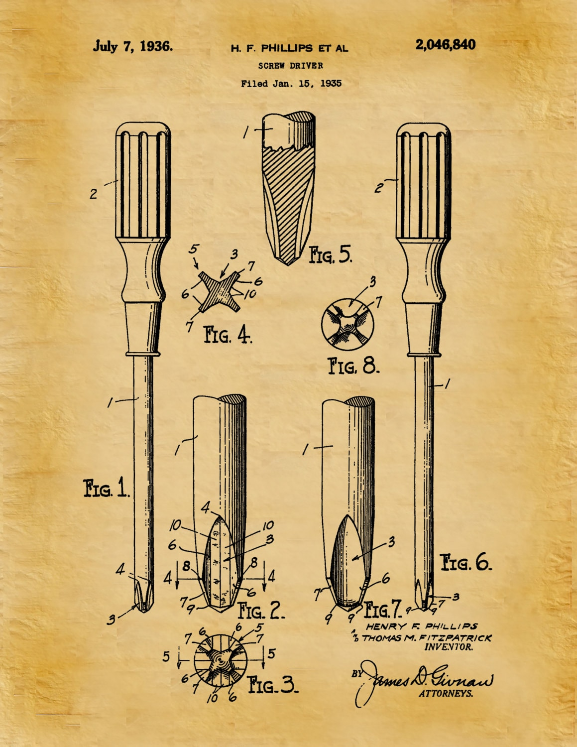Patent 1936 Phillips Screwdriver Patent Art Print - Poster Print ...