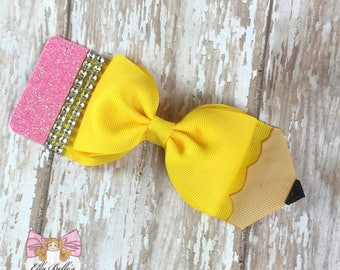 Pencil Bow~ pencil tuxedo bow, pencil hairbow, pencil hair bow, large pencil bow, back to school bow, first day of school bow