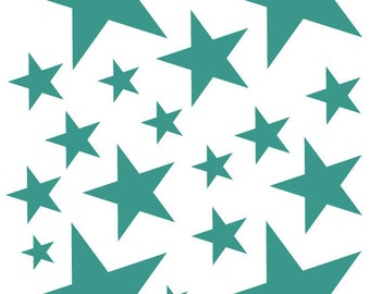 52 Teal Green Turquoise Vinyl Star Shaped Wall Decals Stickers Stars Teen Kids Baby Nursery Dorm Room Removable Custom Made Easy to Install