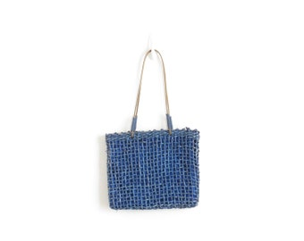 Raffia Bag Woven Straw Bag Basket Bag Woven Tote Bag Straw Tote Futuristic Bag Cobalt Blue Shoulder Bag Boho Bag Bohemian Purse Hippie Bag