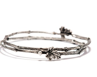 Twig Branch Jewelry, Silver Twig Bracelet, Valentines, Stackable Bracelets, Nature Inspired Bracelets, Woodland Bracelet, Gift for Her