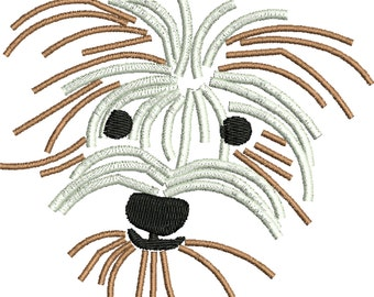 a dog embroidery design , mutt , Rescue dog, Shaggy dog
