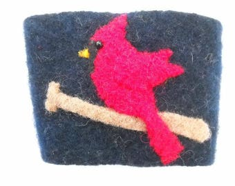 Felted Wool Cardinal on a Bat Coffee Cozy Cup Sleeve