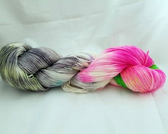 Fairy Garden hand dyed sock yarn 400 yards