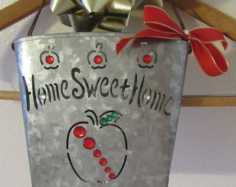 Basket Home Sweet Home Tin Apple Hanging With Red Bow and Lots of Bling Wall Art Wall Decor Home Decor Country Decor Cottage Chic Gift Idea