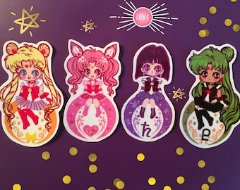 Sailor Moon Senshi Uniform glossy Vinyl sticker set of 4