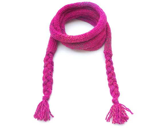 Summer Fruits Spaghetti Scarf - Bright Pink Little Scarf - Juicy Pink Thin Scarves / Skinny scarf for all seasons - pink scarf all weather