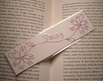 Personalised Bookmark, Floral Hand Stitched Bookmark in your choice of colour