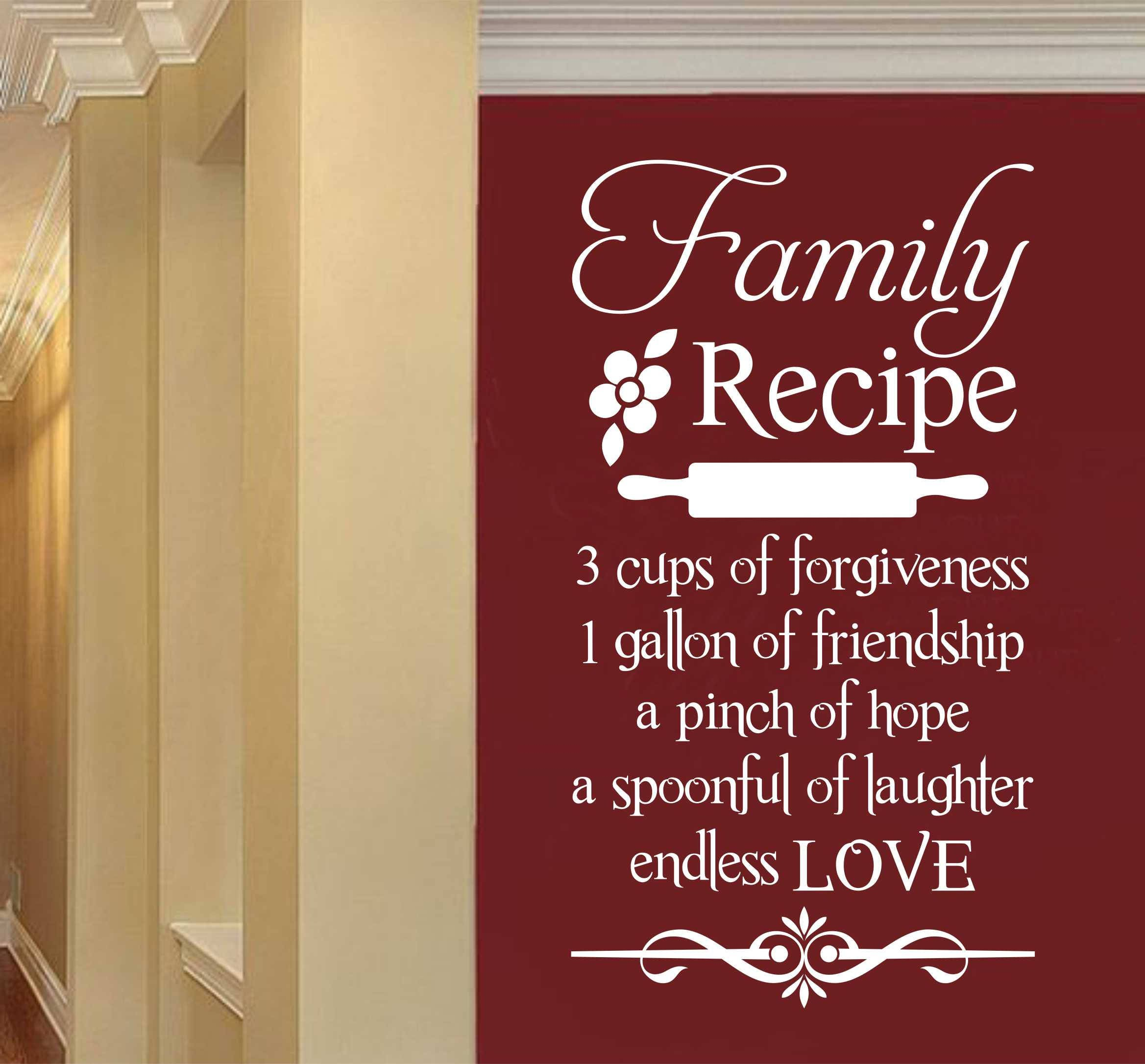 Quotes About Friendship And Family Family Recipe Kitchen Quote Vinyl Wall Lettering Vinyl