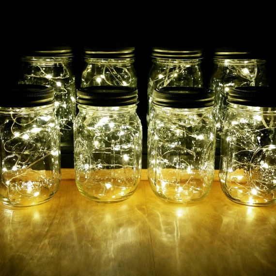 Vintage Wedding Ideas Mason Jars: Sale 8 Firefly Lights And Mason Jar Centerpieces Wedding