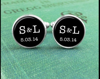 Custom Monogram Cufflinks, Personalized Wedding Cuff Links, Groom Cufflinks, Gift for Groom, Gift for Bestman, Gift from Bride