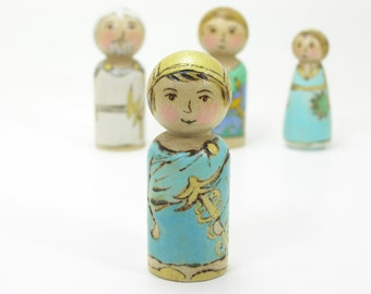 Hermes, Greek God, wooden peg doll, handmade kids toy, greek mythology toy, educational toy