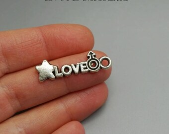 SET of 10 charms love Silver (E34)