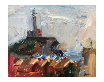 The Lighthouse In the Gray Clouds - Original Plein Air Seascape Painting, Oil Paintings Impressionist Sky Impasto Thick Modern Landscape Art