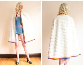 1940s Beach Cape // Chenille Summer Beach Cape // vintage 40s beach cape