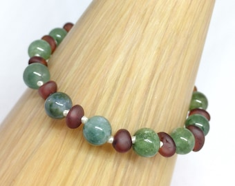 Amber and Green Moss Agate anklet