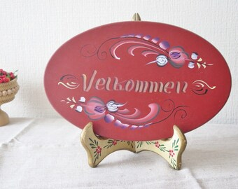 Vintage Wood Welcome Sign, Swedish Welcome Sign Hand Painted Rosemaling, Vintage Scandinavian Door Wall Decor @133