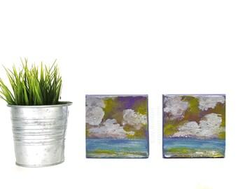 Set of 2,  Sea Paintings, Ocean Art, Small Artwork, Winjimir, Home Decor, Office, Wall Art, Gift, Seascape, Beach House, Art, Wall Art, 4x4