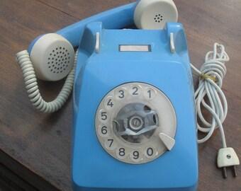 80's Siemens rotary blue pastel telephone, functional. vintage telephone, telephone 80s, vintage pastel telephone, vintage rotary telephone
