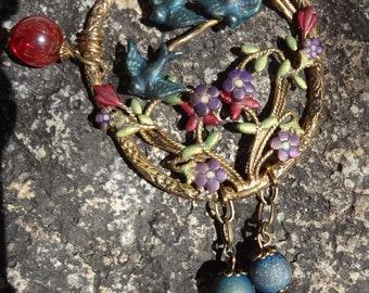 Vintage Flying Bluebirds Necklace