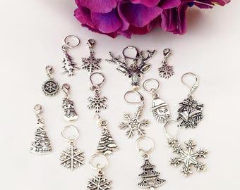 Christmas Stitch Marker Set// Xmas Progress Keepers// Holiday Knitting Markers