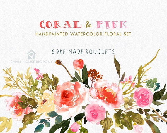 Digital Clipart- Watercolor Flower Clipart, peonies Clip art, Floral Bouquet Clipart- Coral and Pink (6 Bouquets)