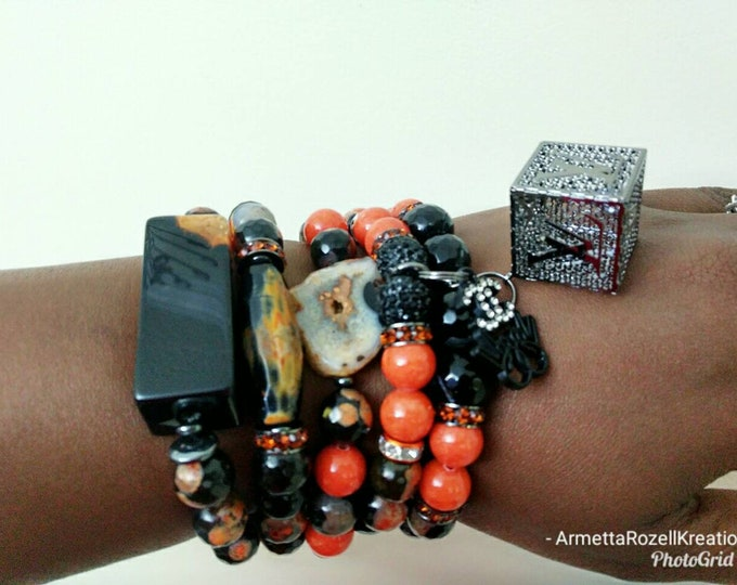 Designer Inspired Ladies Cracked Agate Orange and black Jade Stone & Hematite Bracelet Stack, stackable Bracelet's, birthday gifts