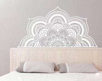 Half Mandala Wall Decal - Mandala Stickers - Boho Bohemian Decor - Headboard Decal - Yoga Studio Wall Art - Flower Mandala Vinyl SM230