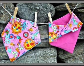 Butterflies & Suns on Pink Bandanna Baby Bib