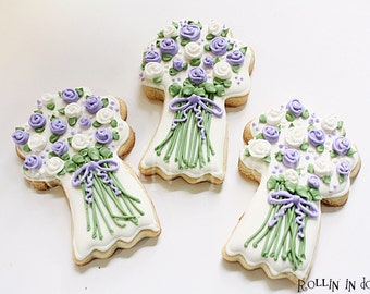 Wedding Cookies, Flower Bouquet Cookies, Wedding Favors, Wedding Bouquet Cookies
