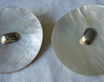 Set of 2 VINTAGE Large Iridescent Shell & Metal BUTTONS