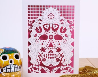Day of the dead card etsy mexicana laser cut greetings card da de muertos day of the dead m4hsunfo