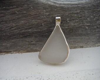 Frosty white sea glass pendant bezel set in sterling silver