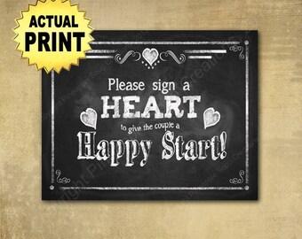 Sign a heart Wedding guestbook, Engagement guestbook, wedding shower guestbook, rustic wedding sign, barn wedding, chalkboard wedding print