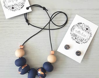 Polymer clay necklace and earring gift set, polymer clay necklace, Navy and copper clay bead necklace, necklace, beaded necklace,
