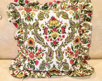 Bohemian Throw Pillow with Paisley and Flowers. Ruffles, Color.