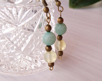 Artisan earrings, amazonite and prehnite earrings, hippie earrings, golden earrings, beaded earrings, mother's Day