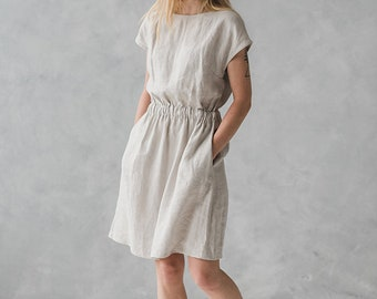 Soft Linen Dress with Pockets / Summer Linen Dress / Women Linen Dress with Elastic Band / Washed Linen Sundress / Swing Dress / Maxi Dress