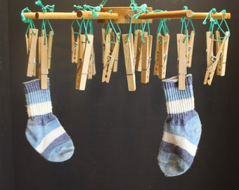 Vintage Hanging Drying Rack With Clothespins // Round // 24 Pins // Socks Drier or Herb Drier