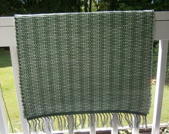 Hand Woven Rag Rug. Multicolored in shades of Greens and Tans
