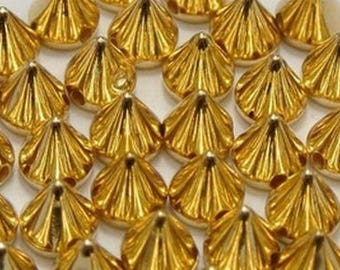 Lot 50 pics acrylic beads, Golden 10mm