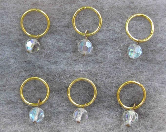Woolpops Vintage Aurora Borealis Crystal Stitch Markers Set of 6