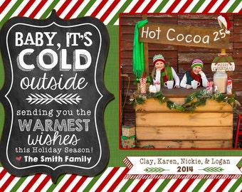 Photo Christmas Card | Rustic Chalkboard | Digital Christmas Card {L24}