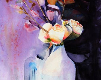 """Still life abstract 6.40""""x9.40""""(print of my watercolor painting)"""