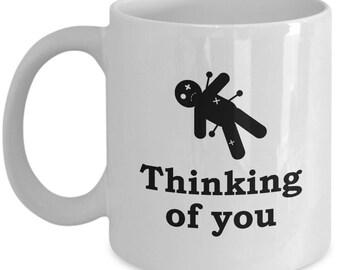 Thinking of You Voodoo Doll Funny Gift Mug Sarcastic Gag Joke Voo Doo Pins Coffee Cup