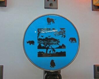 Safari Night Light - Safari Nightlight with Lion, Elephant, Giraffe, etc. -  Fused Glass Night Light