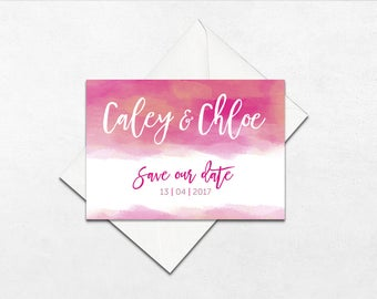 Bright watercolour wedding save the dates | Wedding save the dates | Watercolour save the dates | WONDERFUL WATERCOLOUR |